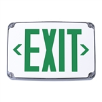 Compass Lighting CEWSGE Wet Location LED Emergency Exit, 120V-277V, Single-Face, Wall, End or Ceiling Mounted, Green Letters, with Battery