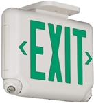 Dual-Lite EVCUGWD4-0 Architectural LED Exit and Emergency Light, Universal Face, Green Letters, White Finish, 2 LED Remote Capacity, No Self-Diagnostics, No Lamp Heads