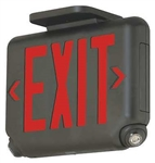 Dual-Lite EVCURBD4 Architectural LED Exit and Emergency Light, Universal Face, Red Letters, Black Finish, 2 LED Remote Capacity, No Self-Diagnostics
