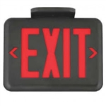 Dual-Lite EVEURBE LED Exit Sign, Single/ Double Face, Red Letters, Black Finish, Emergency Operation, No Self-Diagnostics