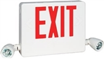 Dual-Lite HCXURWRC12 Side Mount Designer LED Exit Sign and Emergency Light, Universal Face, Red Letters, White Finish, with 12W Remote Capacity, Lighting Heads Included