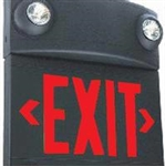 Dual-Lite LTURB 10W Tandem Emergeny Lighting Unit and LED Exit Sign Combo, Single/ Double Face, Red Letters, Black Finish, Standard Model, No Self-Diagnostics