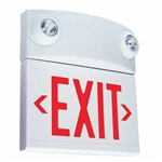 Dual-Lite LTURWD 10W Tandem Emergeny Lighting Unit and LED Exit Sign Combo, Single/ Double Face, Red Letters, White Finish, Damp Location Model, No Self-Diagnostics