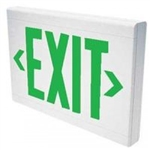 Dual-Lite LXUGW-2C Low Profile Designer LED Exit Sign, Single/ Double Face, 120/277V, Green Letters, White Finish, AC Only, No Self-Diagnostics,2-Circuit Operation