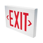 Dual-Lite LXURWEI Low Profile Designer LED Exit Sign, Single/ Double Face, 120/277V, Red Letters, White Finish, Emergency Operation, Spectron Self-Diagnostics