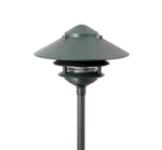 "Focus Industries AL-03-10-RBV 12V 18W 10"" Two Tier Pagoda Hat Area Light, Rubbed Verde Finish"
