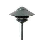 "Focus Industries AL-03-3T103LED3RBV 12V 3W Omni LED Cast Aluminum 10"" 2 Tier Pagoda Hat Area Light with 3"" Base, Rubbed Verde Finish"