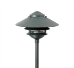 "Focus Industries AL-03-3TLED3RBV 12V 3W Omni LED Cast Aluminum 6"" 3 Tier Pagoda Hat Area Light, Rubbed Verde Finish"