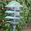"Focus Industries AL-03-4T-RBV 12V 18W 6"" Four Tier Pagoda Hat Area Light, Rubbed Verde Finish"