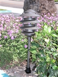 "Focus Industries AL-03-4TLED3BLT 12V 3W Omni LED Cast Aluminum 6"" 4 Tier Pagoda Hat Area Light, Black Texture Finish"