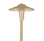 "Focus Industries AL-04-LEDP-BRS 12V 4W LED 300 lumens 7.5"" China Hat Area Light, Unfinished Brass"