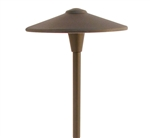 "Focus Industries  12V 3W Omni LED Cast Brass 10"" China Hat Area Light with Adjustable Hub, Brass Acid Verde Finish"