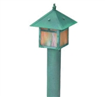 Focus Industries 12V 3W Omni LED Solid Brass Lantern Area Light with Brass Post, Brass Acid Verde Finish