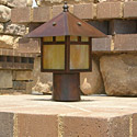 Focus Industries AL-10-CAM 12V 18W Post Lantern, no mounting supplied, Area Light, Camel Tone Finish