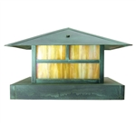 Focus Industries AL-10-LGPFL13S-BAV 120V 13W 4100K CFL Brass Pedestal Mount Lantern Area Light, Brass Acid Verde Finish