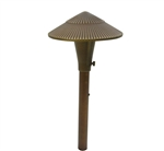 "Focus Industries AL-15-SM-LEDP-BAV 12V 4W LED 300 lumens 5.75"" Tiki Hat Area Light, Brass Acid Verde Finish"