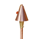 Focus Industries AL-18-SMDM-AH-BB-COP 12V 20W T4 Halogen Tiki Torch Light, Brass Bamboo Stem Area Light, Unfinished Copper