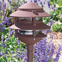 "Focus Industries Al-03-3T-WBR-120V 120V 6"" Three Tier Pagoda Hat Area Light, Weathered Brown Finish"