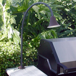"Focus Industries BQ-03-FD-36-BLT 12V Spun Aluminum Bell BBQ Flex Light Deck Series with 12"" Rod and 24"" Flex Arm, Black Texture Finish"