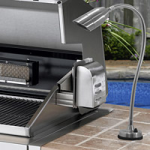 "Focus Industries BQ-08-FD-36-WTX 12V Cast Aluminum Bullet BBQ Flex Light Deck Series with 12"" Rod and 24"" Flex Arm, White Texture Finish"