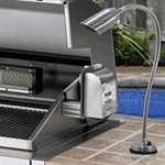 "Focus Industries BQ-08-FD-MR16-120V-36-CPR 120V Cast Aluminum Bullet BBQ Flex Light Deck Series with 12"" Rod and 24"" Flex Arm, Chrome Powder Finish"