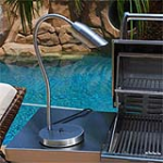 "Focus Industries BQ-08-WB-SS 120V Stainless Steel Bullet BBQ Flex Light with 24"" Flex Arm and Weighted Base Finish"
