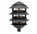 "Focus Industries FAL-04-7-RBV 120V 7W CFL 4 Tier 6"" Pagoda Hat Area Light, Rubbed Verde Finish"