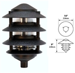 "Focus Industries FAL-04-7103-BLT 120V 7W CFL 4 Tier 10"" Pagoda Hat, 3"" Post Mount Base Area Light, Black Texture Finish"