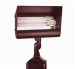 Focus Industries FFL-09HE-WBR 120V 9W CFL Floodlight with Hood Extension, Weathered Brown Finish