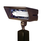 Focus Industries FFL-26-CST-RST 120V 2 x 13W CFL 4100K, Floodlight with Hood Extension, Rust Finish