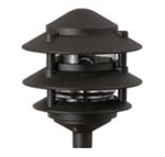 "Focus Industries IAL-03-NL-BLT E26 Standard Base 3 Tier 6"" Pagoda Hat Area Light, Black Texture Finish"