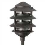 "Focus Industries IAL-04-NL-BLT E26 Standard Base 4 Tier 6"" Pagoda Hat Area Light, Black Texture Finish"