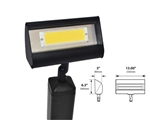 Focus Industries LFL-01-HELEDP812V-BLT 12V 8W LED 3000K, Floodlight with Hood Extension, Black Texture Finish