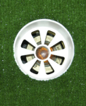 Focus Industries PGL-05-YELLOW 12V 35W MR16 Putting Green Cup Light with Yellow Lens, Brass Finish