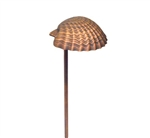 "Focus Industries PL-03-DC-BAV 12V 18W S8 Incandescent 5.25"" Sea Shell Hat Path Light, Brass Acid Verde Finish"
