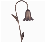 Focus Industries PL-04-LVS-BAR 12V 18W S8 Incandescent Tulip Path Light with Stem Leaves, Brass Acid Rust Finish