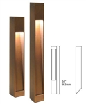 Focus Industries PL-23-34-BAR 12V 18W S8 Incandescent Angle Cut Square Bollard, Brass Acid Rust Finish