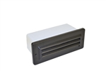 Focus Industries SL-08-LED3BRT 2x3W OMNI LED, Cast Aluminum 3 Louver Brick Light, Bronze Texture Finish