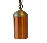 Focus Industries SL-14-ALR12-BAV 12V 18W S8 Incandescent, Hanging Cylinder Light with Chain and J-Box, Brass Acid Verde Finish