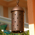 Focus Industries SL-15-COP-CAV 12V Stamped Copper Hanging Cylinder with Starlight Holes, Copper Acid Verde Finish