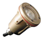 Focus Industries SL-40-AC 12V MR11 Brass Underwater Light with Angle Collar, Brass Finish