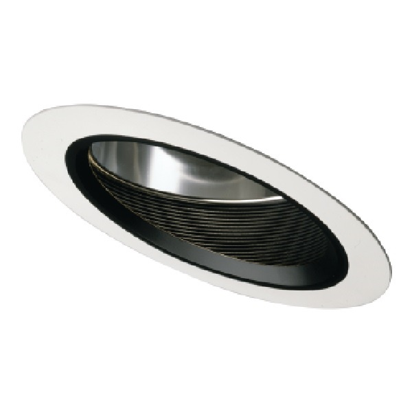 Halo Recessed 496p 6 Slope Ceiling Baffle With Reflector White Trim Ring With Black Baffle