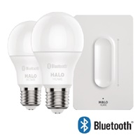 Halo Home HHA19HWAS1BLE-2PK A19 Lamp with Anyplace Dimmer, Bluetooth Wireless Mesh Control Protocol, 2 Lamps, Gloss White