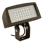 Hubbell Outdoor Lighting FLL-28L 100W Large Architechtural LED Floodlight, Yoke Mount, Wide Beam, 120-277V, 8054 Lumens, 5000K, Bronze Finish