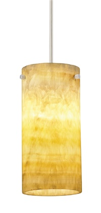 "Juno DPEND QJ G2 P136 AMO 78IN LED12 30K 80CRI SNC SNA Medium Cylinder Shape Low Voltage LED Decorative Pendant, Quick Jack Adapter, Amber Onyx Shade, 78"" Cordset, 3000K, 80 CRI, Satin Nickel Cordset and Adapter"