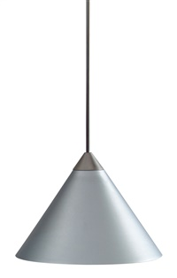 "Juno DPEND T12 G2 P311 SLVR 144IN LED12 27K 80CRI SNC SLA Short Cone Metal Shape Low Voltage LED Decorative Pendant, Trac 12 Adapter, Silver Shade, 144"" Cordset, 2700K, 80 CRI, Satin Nickel Cordset and Silver Adapter"