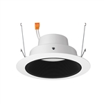 "Juno Recessed Lighting J6RLG4-35K-9-BWH 6"" Gen 4 Retrofit LED Downlight Trim Module 900 Lumens, 3500K color Temperature, Black Baffle, White Trim, Less Medium Base Socket Adapter"