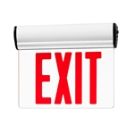 Juno Lighting NXESBA1RWH Surface Mount Edge-Lit LED Exit Sign with Battery Backup, Single face Clear Background, Red Letters, White