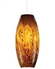 Juno Lighting P88MPLA3-STN-AMS Charlotte Low Voltage Decorative Pendant for Monopoint 12V 5W LED 3000K, Satin Nickel Fixture, Amber Storm Shade