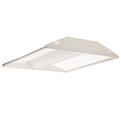 Juno Lighting S2X2BL-3940U-WH4-BR Indy 2x2 LED Low-Profile Recessed Luminaire With Basket Diffuser, 3900 Lumens, 4000K, 120-277V, White, Gen4, Emergency Battery pack With Remote Test Switch